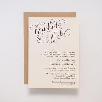 """""""Calligraphy Accent"""" Letterpress Invitation, No.1"""
