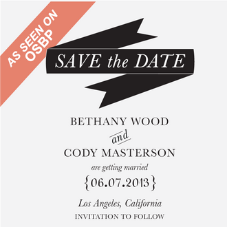 """""""Modern Banner"""" Save the Date Stamp"""