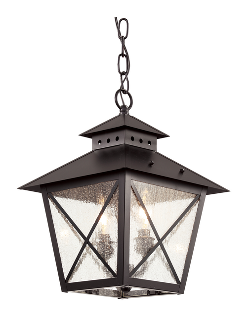 "Chimney Vented 15"" Hanging Lantern 40174BK in black with seeded glass"