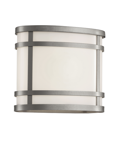 """CityScape Oval 7"""" Patio Light 40200 in silver with white acrylic glass"""