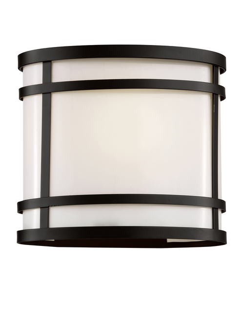 """8"""" CityScape Oval Patio Light in black finish and white acrylic glass"""