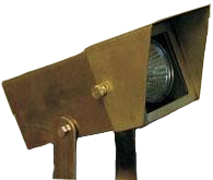 12V LED Raw Brass Rectangular Flood Light w/ Angle Shield LE105