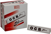 OCB SLIM WHITE (109mm. X 44mm.) Paper Quality: 13.5 gsm  (Ultra Transparent Paper) 32 Leaves per Booklet 50 Booklets per Box (THIS PRICE IS FOR A COMPLETE BOX OF 50 BOOKLETS)
