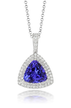 Triangular Tanzanite and Diamond Pendant