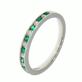 Emerald & Diamond, 18ct White Gold Eternity Ring