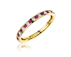 Ruby & Diamond, 18ct Yellow Gold Channel Set Eternity Ring