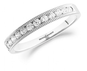 Platinum Millegrain Set Diamond Band.