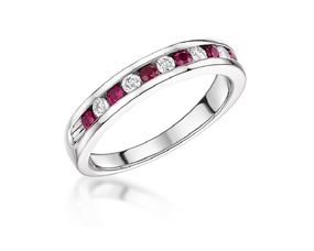 18ct White Gold, Channel Set Ruby & Diamond Eternity Ring