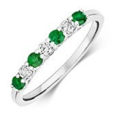 Emerald & Diamond, Claw Set 18ct White Gold Eternity Ring