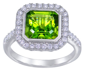 18ct White Gold, Peridot  & Diamond Ring