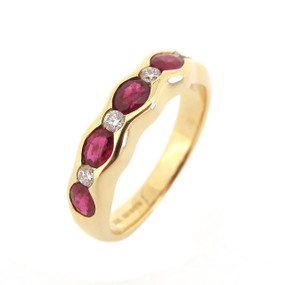 Oval Ruby and Diamond Half  Eternity Ring  (£1820.00)