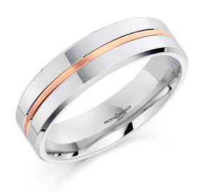 Gents Two Tone Wedding Band Palladium and Rose Gold