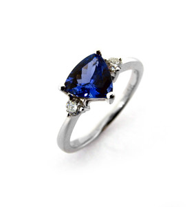 Triangular Cut Tanzanite & Diamond Ring  (Prices from £2050.00)