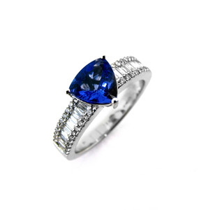 Triangular Cut Tanzanite Ring With Diamond Set Shoulders  (Prices from £2825.00)