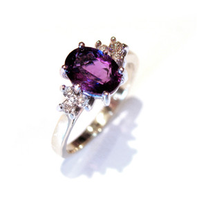Oval Amethyst & Diamond Trefoil Ring  (Prices from £775.00)