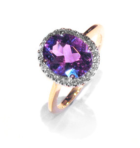 Oval Amethyst Ring With Diamond Set Surround  (Prices from £925.00)