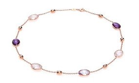 Rose Gold, Amethyst & Rose Quartz 70cm Long Necklace