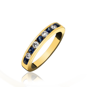 18ct Yellow Gold Sapphire & Diamond Chanel Set  Eternity Ring