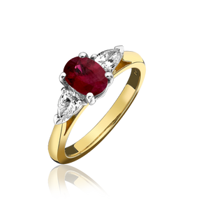 Oval Ruby & Pear Cut Diamond Three Stone Ring