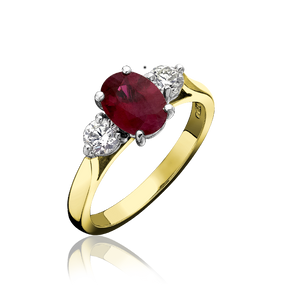 Oval Three Stone Ruby & Diamond Ring, in 18ct Gold
