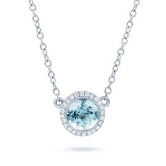 18ct White Gold, Aquamarine Pendant With Diamond Halo