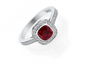 18ct White Gold, Cushion Cut Ruby & Dimaond Cluster Ring
