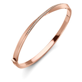 18ct Rose Gold, Diamond Twist Bangle