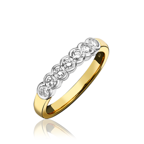 18ct Yellow Gold, Diamond Eternity Ring With Rub-Over Setting