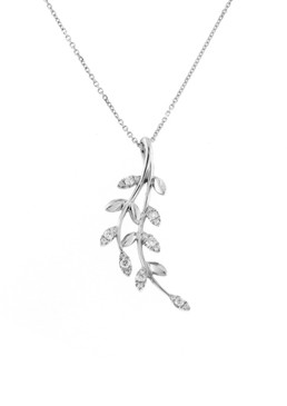 Diamond & 18ct White Gold Leaf  Pendant