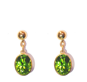 9ct Rose Gold Peridot Drop Earrings