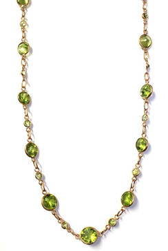 9ct Rose Gold Peridot Station Chain