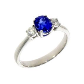 18ct White Gold Sapphire & Diamond Three Stone Ring