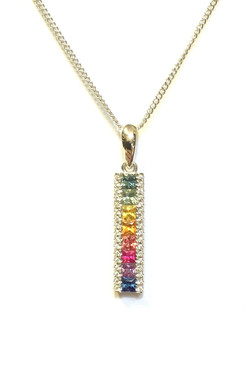 18ct White Gold, Multi-Colour Sapphire & Diamond Pendant