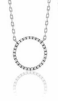18ct White Gold & Diamond Geometric Circle Pendant