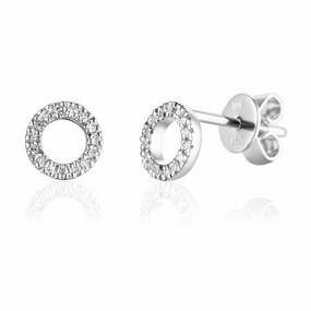 18ct White Gold & Diamond Geometric Circle Earrings