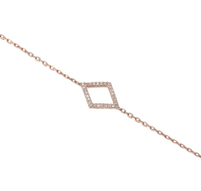 18ct Rose Gold & Diamond Geometric Bracelet