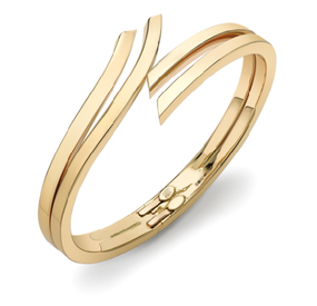 18ct Gold, Double Row Hinged Torque Bangle