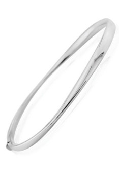 9ct White Gold Wave Bangle