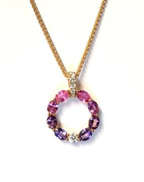 Pink & Purple Sapphire & Diamond Pendant