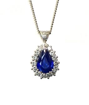 Pear Cut Sapphire & Diamond Pendant