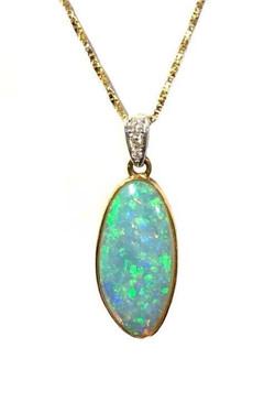 18ct Gold Opal & Diamond Pendant