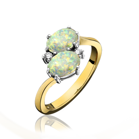 18ct Gold, Double Opal & Diamond Ring