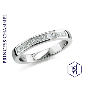 Princess Cut Diamonds in a Platinum Band (Prices from £1325.00)