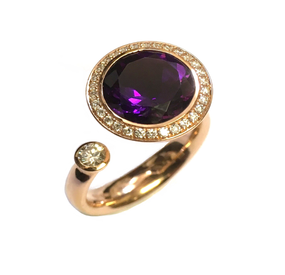 Andrew Geoghegan Amethyst & Diamond Satellite Ring