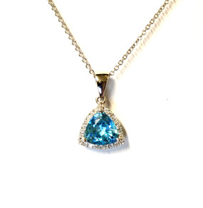 18ct White Gold, Blue Topaz & Diamond Pendant