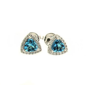 Blue Topaz & Diamond, 18ct White Gold Earrings