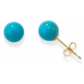 Turquoise & 9ct Yellow Gold Stud Earrings