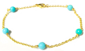 9ct Yellow Gold & Turquoise Station Bracelet