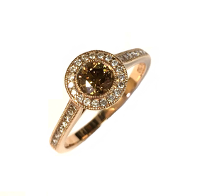18ct Rose Gold Chocolate Colour Diamond Ring