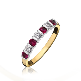 18ct Yellow Gold Ruby & Diamond, Bar Set Eternity Ring